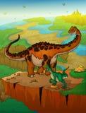 Diplodocus y rapaz con el fondo del paisaje Foto de archivo