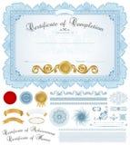 Diplom-/certifikatbakgrund med blåttgränsen Arkivfoto