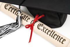 Diplom och avläggande av examenlock Arkivbild