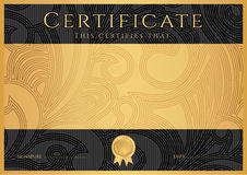 Diploma / Ð¡ertificate award template. Black Royalty Free Stock Images