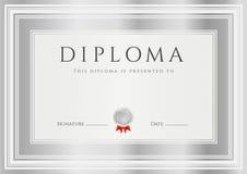 Diploma/?ertificate toekenningsmalplaatje. Kader Royalty-vrije Stock Fotografie