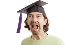Diploma. Young man graduated with hat Stock Photos