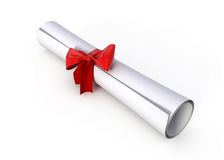 Diploma. Roll Diploma with red ribbon Royalty Free Stock Images