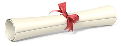 Diploma. Classic roll of graduation diploma. Red knot Royalty Free Stock Photo