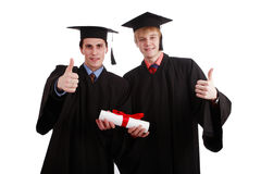 Diploma. Portrait of a young peoplein a academic gown. Education background stock image