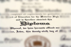 Diploma. High school diploma Royalty Free Stock Photos