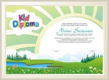 Diploma adorável da criança com paisagem da natureza ilustração do vetor