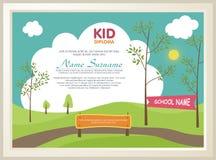 Diploma adorável da criança com paisagem da natureza ilustração royalty free