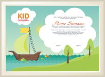 Diploma adorable del niño con paisaje de la naturaleza libre illustration