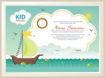 Diploma adorable del niño con paisaje de la naturaleza ilustración del vector