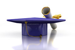 Diploma of a bachelor. Headdress of the bachelor with diploma on mirror plane Royalty Free Stock Photos