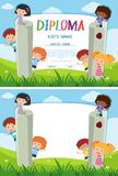 Diploma and background template with kids in the park Royalty Free Stock Photography