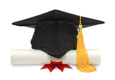 Diploma and Black Grad Hat Stock Photography