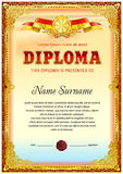 Diploma blank template. With hard vintage frame border, ribbons and floral elements Royalty Free Stock Photography