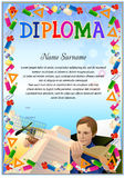 Diploma blank tenplate. With hard vintage frame border, ribbons and floral elements royalty free illustration