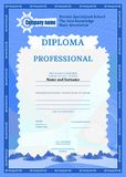 Diploma of blue on education complex texture stock illustration