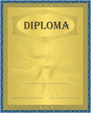 Diploma Blue Gold. Card template Royalty Free Stock Photography