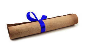 Diploma with blue ribbon Royalty Free Stock Photography