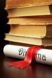 Diploma and books Stock Image