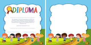Diploma and border template with happy kids in park Stock Photography