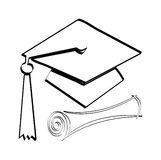 Diploma and cap. Graduation diploma and cap on a white background Stock Photo