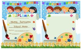 Diploma and card template with kids and paintbrush Royalty Free Stock Image