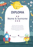 Diploma Cartoon Vector Template Royalty Free Stock Images