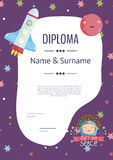 Diploma Cartoon Vector Template Stock Photography