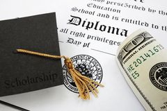 Diploma and cash. Graduation cap with Scholarship text and money on a high school diploma Stock Photography