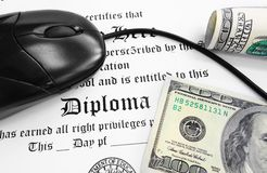 Diploma cash. High school or college Diploma and mouse with cash Royalty Free Stock Images