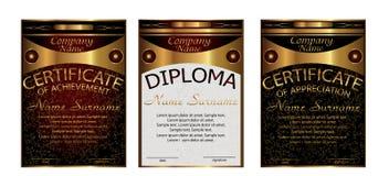 Diploma, certificado de aprecio, logro Temporeros verticales Foto de archivo