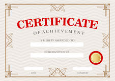 Diploma Certificate of Achievement Stock Photos