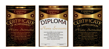Diploma, certificate of appreciation, achievement. Vertical temp. Late. Set gold elegant. Award winner. Reward. Winning the competition. The text on separate Stock Photo