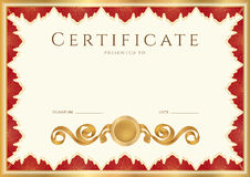 Diploma / Certificate background with red border Stock Image