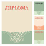Diploma and Certificate design template. In baroque style Royalty Free Stock Photo