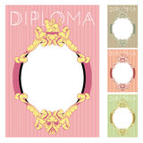 Diploma and Certificate design template. In baroque style Royalty Free Stock Image