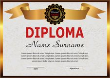 Diploma or certificate. Elegant design with golden ribbon. Vecto Royalty Free Stock Image