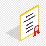 Diploma or certificate isometric icon Royalty Free Stock Photography