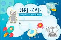 Diploma, the certificate of the teaching game on the theme of Co Stock Image