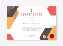 Diploma certificate template design with internation print scale. A4, A5. vector illustration Royalty Free Stock Image