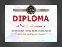 Diploma or certificate template with geometric modern background. Vector Stock Photos