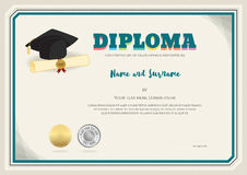 Diploma certificate template in vector with graduation cap Royalty Free Stock Image