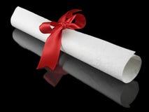 Diploma com fita vermelha Fotos de Stock Royalty Free