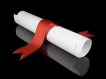 Diploma con il nastro rosso Fotografie Stock Libere da Diritti