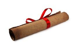 Diploma con la cinta roja Imágenes de archivo libres de regalías