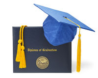 Diploma Cover And Blue Hat Royalty Free Stock Photos