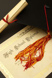 Diploma de High School secundaria Foto de archivo libre de regalías