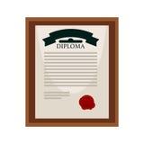 Diploma de la universidad con el sello rojo en marco de madera stock de ilustración