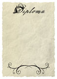 Diploma - Decorative framework. A vegetative ornament, a pattern. Background - old paper. Crumple Stock Photo
