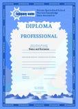 Diploma del blu su struttura del complesso di istruzione illustrazione di stock